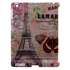 Girly Bee Crown  Butterfly Paris Eiffel Tower Fashion Apple iPad 3/4 Hardshell Case (Compatible with Smart Cover)