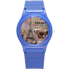 Girly Bee Crown  Butterfly Paris Eiffel Tower Fashion Plastic Sport Watch (Small)