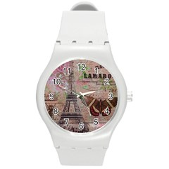 Girly Bee Crown  Butterfly Paris Eiffel Tower Fashion Plastic Sport Watch (medium)