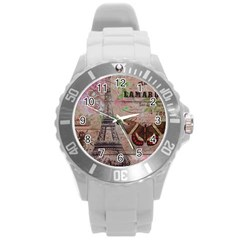 Girly Bee Crown  Butterfly Paris Eiffel Tower Fashion Plastic Sport Watch (Large)