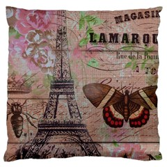 Girly Bee Crown  Butterfly Paris Eiffel Tower Fashion Large Cushion Case (two Sided)