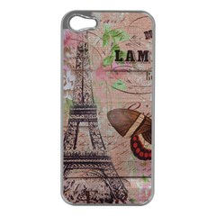 Girly Bee Crown  Butterfly Paris Eiffel Tower Fashion Apple iPhone 5 Case (Silver)