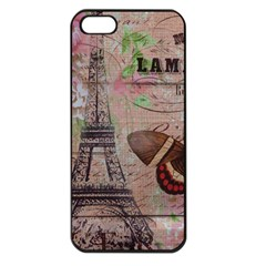Girly Bee Crown  Butterfly Paris Eiffel Tower Fashion Apple Iphone 5 Seamless Case (black)