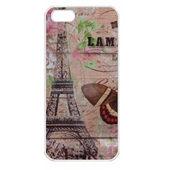 Girly Bee Crown  Butterfly Paris Eiffel Tower Fashion Apple iPhone 5 Seamless Case (White)