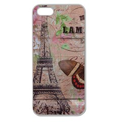 Girly Bee Crown  Butterfly Paris Eiffel Tower Fashion Apple Seamless iPhone 5 Case (Clear)