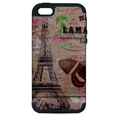 Girly Bee Crown  Butterfly Paris Eiffel Tower Fashion Apple Iphone 5 Hardshell Case (pc+silicone)