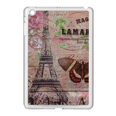 Girly Bee Crown  Butterfly Paris Eiffel Tower Fashion Apple iPad Mini Case (White)