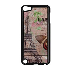 Girly Bee Crown  Butterfly Paris Eiffel Tower Fashion Apple iPod Touch 5 Case (Black)