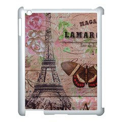 Girly Bee Crown  Butterfly Paris Eiffel Tower Fashion Apple iPad 3/4 Case (White)