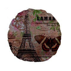 Girly Bee Crown  Butterfly Paris Eiffel Tower Fashion 15  Premium Round Cushion