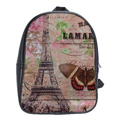 Girly Bee Crown  Butterfly Paris Eiffel Tower Fashion School Bag (XL)