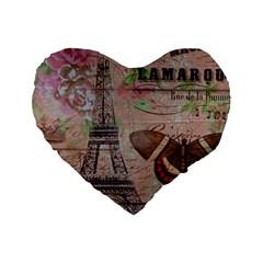 Girly Bee Crown  Butterfly Paris Eiffel Tower Fashion 16  Premium Heart Shape Cushion