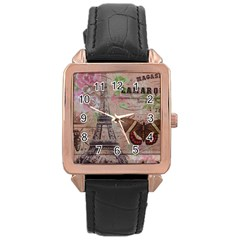 Girly Bee Crown  Butterfly Paris Eiffel Tower Fashion Rose Gold Leather Watch
