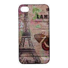 Girly Bee Crown  Butterfly Paris Eiffel Tower Fashion Apple iPhone 4/4S Hardshell Case with Stand