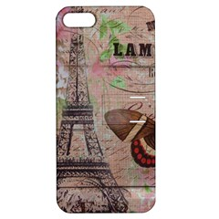 Girly Bee Crown  Butterfly Paris Eiffel Tower Fashion Apple iPhone 5 Hardshell Case with Stand