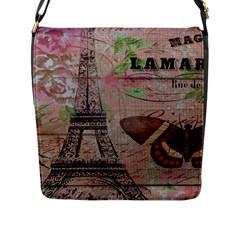 Girly Bee Crown  Butterfly Paris Eiffel Tower Fashion Flap Closure Messenger Bag (Large)