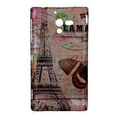 Girly Bee Crown  Butterfly Paris Eiffel Tower Fashion Sony Xperia ZL L35H Hardshell Case