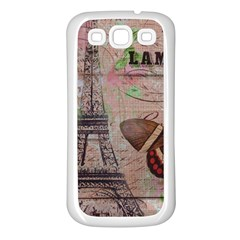 Girly Bee Crown  Butterfly Paris Eiffel Tower Fashion Samsung Galaxy S3 Back Case (white)