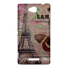 Girly Bee Crown  Butterfly Paris Eiffel Tower Fashion Sony Xperia C (S39h) Hardshell Case