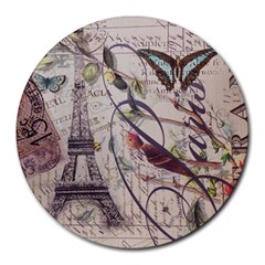 Paris Eiffel Tower Vintage Bird Butterfly French Botanical Art 8  Mouse Pad (round)