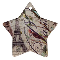 Paris Eiffel Tower Vintage Bird Butterfly French Botanical Art Star Ornament