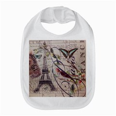 Paris Eiffel Tower Vintage Bird Butterfly French Botanical Art Bib