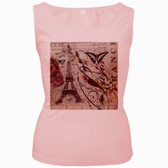 Paris Eiffel Tower Vintage Bird Butterfly French Botanical Art Womens  Tank Top (pink)
