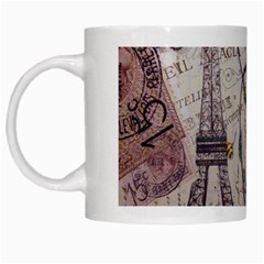 Paris Eiffel Tower Vintage Bird Butterfly French Botanical Art White Coffee Mug