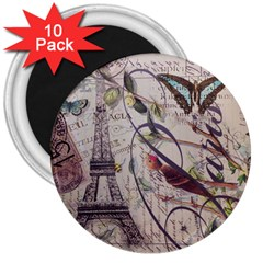 Paris Eiffel Tower Vintage Bird Butterfly French Botanical Art 3  Button Magnet (10 pack)