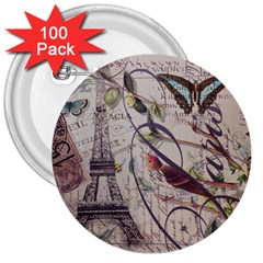 Paris Eiffel Tower Vintage Bird Butterfly French Botanical Art 3  Button (100 pack)