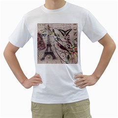 Paris Eiffel Tower Vintage Bird Butterfly French Botanical Art Mens  T-shirt (White)