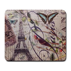 Paris Eiffel Tower Vintage Bird Butterfly French Botanical Art Large Mouse Pad (Rectangle)