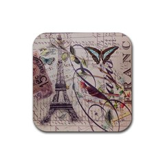 Paris Eiffel Tower Vintage Bird Butterfly French Botanical Art Drink Coaster (Square)