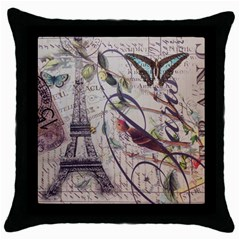 Paris Eiffel Tower Vintage Bird Butterfly French Botanical Art Black Throw Pillow Case