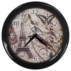 Paris Eiffel Tower Vintage Bird Butterfly French Botanical Art Wall Clock (Black)