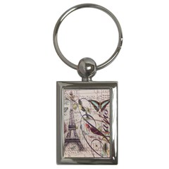 Paris Eiffel Tower Vintage Bird Butterfly French Botanical Art Key Chain (rectangle)
