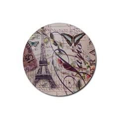 Paris Eiffel Tower Vintage Bird Butterfly French Botanical Art Drink Coaster (round)