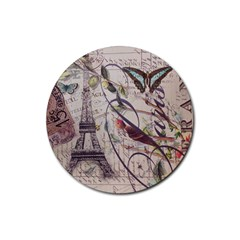 Paris Eiffel Tower Vintage Bird Butterfly French Botanical Art Drink Coasters 4 Pack (Round)