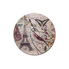 Paris Eiffel Tower Vintage Bird Butterfly French Botanical Art Magnet 3  (Round)