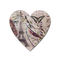 Paris Eiffel Tower Vintage Bird Butterfly French Botanical Art Magnet (heart)