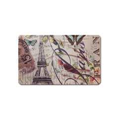 Paris Eiffel Tower Vintage Bird Butterfly French Botanical Art Magnet (Name Card)