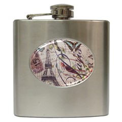 Paris Eiffel Tower Vintage Bird Butterfly French Botanical Art Hip Flask