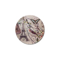 Paris Eiffel Tower Vintage Bird Butterfly French Botanical Art Golf Ball Marker