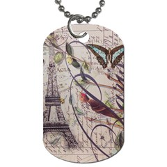 Paris Eiffel Tower Vintage Bird Butterfly French Botanical Art Dog Tag (Two-sided)
