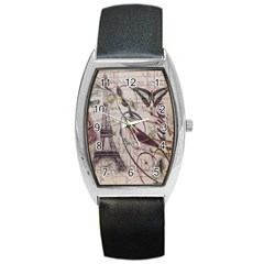 Paris Eiffel Tower Vintage Bird Butterfly French Botanical Art Tonneau Leather Watch