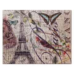 Paris Eiffel Tower Vintage Bird Butterfly French Botanical Art Jigsaw Puzzle (Rectangle)