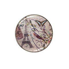 Paris Eiffel Tower Vintage Bird Butterfly French Botanical Art Golf Ball Marker (for Hat Clip)