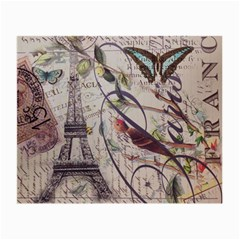 Paris Eiffel Tower Vintage Bird Butterfly French Botanical Art Glasses Cloth (small)