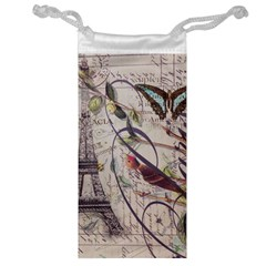 Paris Eiffel Tower Vintage Bird Butterfly French Botanical Art Jewelry Bag