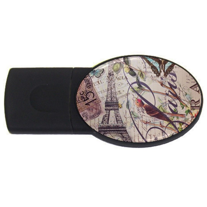Paris Eiffel Tower Vintage Bird Butterfly French Botanical Art 4GB USB Flash Drive (Oval)